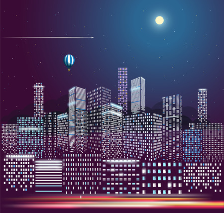 Modern city life in the night. Vector illustration. City buildings in perspective Illustration