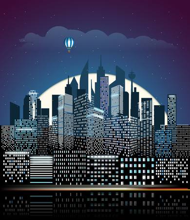residental: Modern cityscape in the night. vector illustration. City buildings perspective Illustration