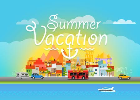 seacoast: Travel vector illustration. Summer vacation travel