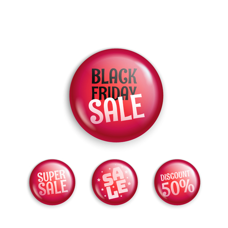 Different sale magnet buttons. Special offer banners collection. Web promo banners set Illustration