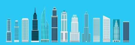 Different skyscrapers on blue. Vector elements collection Illustration