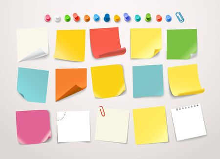 Different color paper stickers collection. Template for a text Illustration