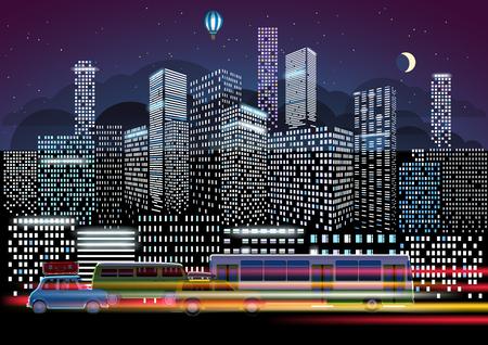 トラフィックと夜のイルミネーション。近代的な都市生活の概念