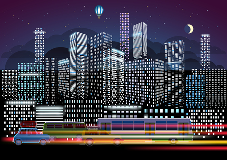 City traffic and night illumination. Modern city life concept