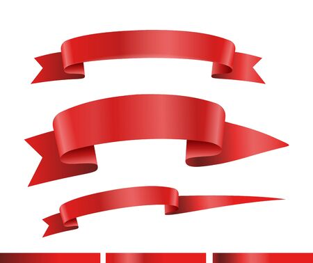 Red ribbons vector collection. Template for a text. Banners collection isolated on white