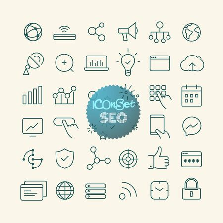 smartphone apps: Outline icon set. Web and mobile app thin line icons. SEO