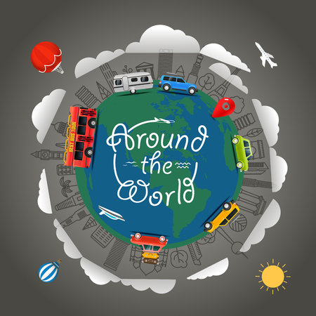 地球の周りの旅行します。世界中です。ベクトル図