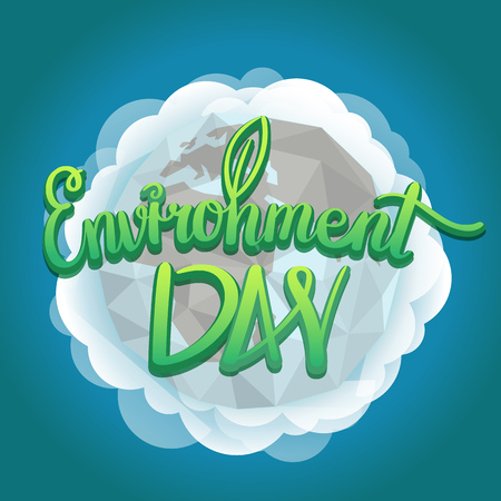 earth day: World environment day hand lettering design. Vector illustration