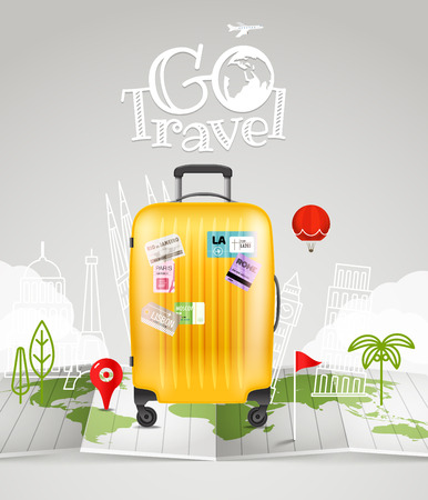 map case: World map with the bag and logo. Vacation concept Illustration