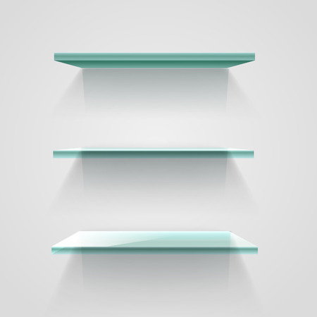 Glass empty shelves on white wall. Vector mockup