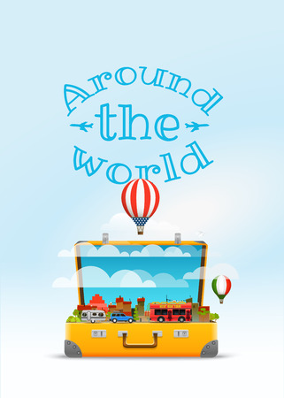 Travel bag vector illustration. Around the world Illustration