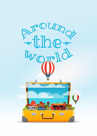 Travel bag vector illustration. Around the world Ilustrace