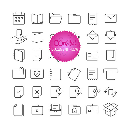 internet search: Outline icon set. Web and mobile app thin line icons. Document flow