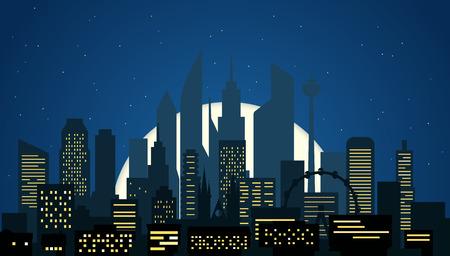 residental: Modern cityscape in the night vector illustartion. Big city night scene