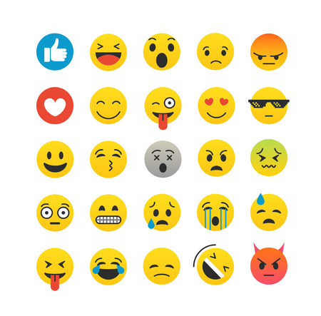 nternet: Different color emoji collection isolated on white. Vector icon set