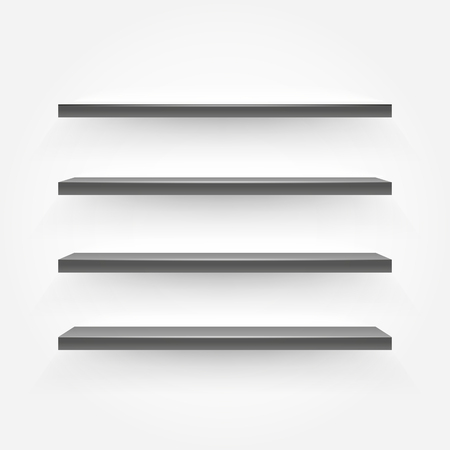 Black empty shelves on the wall. Vector illustration