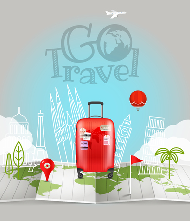 World map with the bag. Go travel logo Illustration