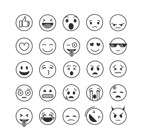 nternet: Different lineart emoji collection vector set