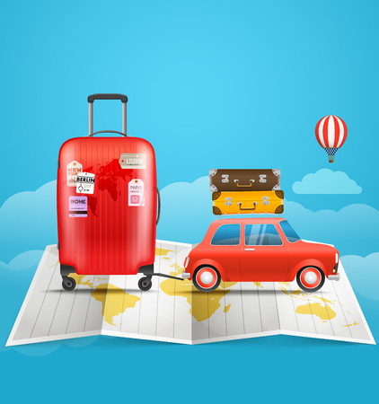map case: Vacation travelling concept. Car with baggage. Go travel illustration Illustration