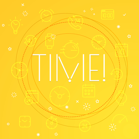Time concept. Different thin line icons included Illustration