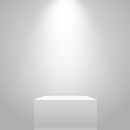 market place: White illuminated stand on the wall. Vector mockup