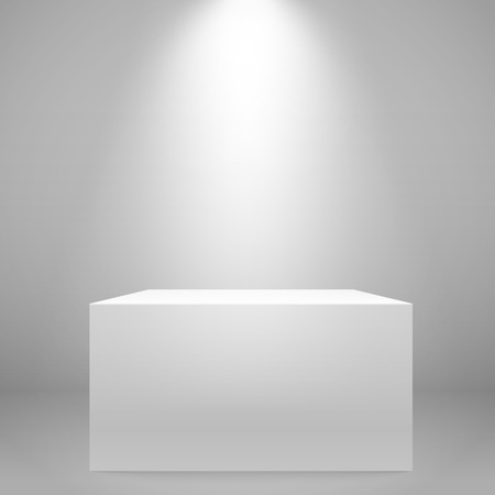 White illuminated wide stand on the wall. Vector mockup Illustration
