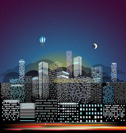 residental: Modern cityscape in the morning vector illustration. City buildings perspective