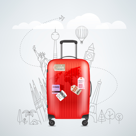 Color red plastic travel bag with different travel elements vector illustration. Travel concept