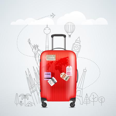Kleur rode plastic reistas met verschillende reizen elementen vector illustratie. Reisconcept Vector Illustratie