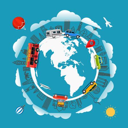 flat earth: Travel around the Earth. Go travel concept. Vector illustration Illustration