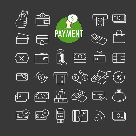 bankomat: Different payment icons vector collection. Web and mobile app outline icons set on dark background Illustration