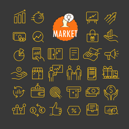 Different marketing icons vector collection. Web and mobile app outline icons set on dark background