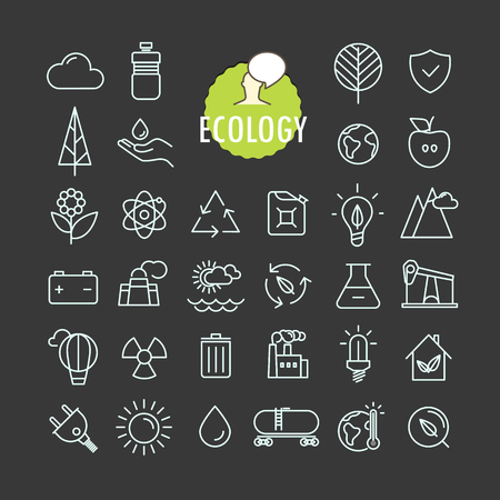 Different ecology icons vector collection. Web and mobile app outline icons set on dark background Illusztráció