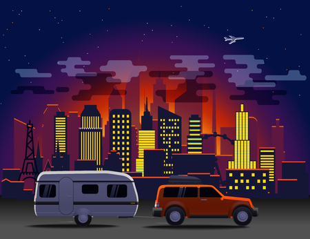 sights: Travelling car in modern city with night illumination