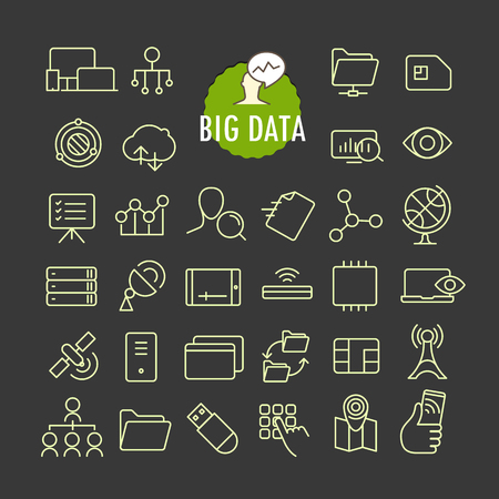 Different big data icons vector collection. Web and mobile app outline icons set on dark  background Illustration