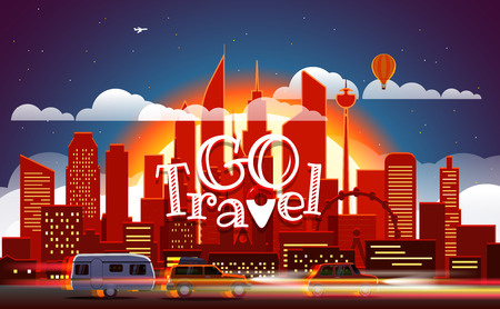 touristic: Season travelling concept. Vector illustration