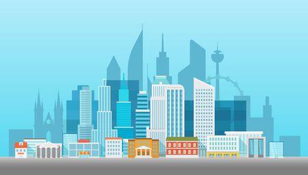 residental: Modern cityscape vector illustartion. Office builngs houses and scyscrapers