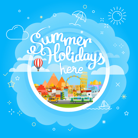 seson: Summer travel vector concept. Vacation travelling illustration. Summer holidays he