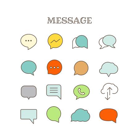 rumour: Different speech bubbles thin line color icons vector set