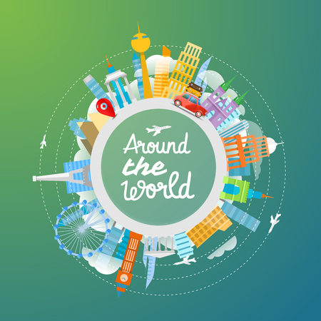 Vacation travelling concept. Vector travel illustration
