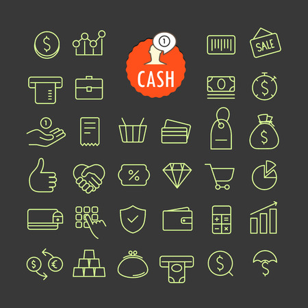 bankomat: Different cash icons vector collection. Web and mobile app outline icons set on dark background