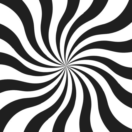 Abstract monochrome curly rays vector illustration Illustration