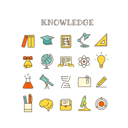 Different knowledge thin line color icons vector set Illustration