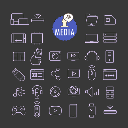 web browser: Different media icons vector collection. Web and mobile app outline icons set on dark background Illustration
