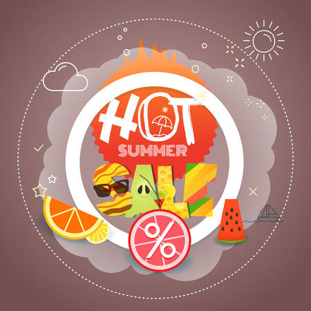 Summer sale vector illustration. Season discount banner