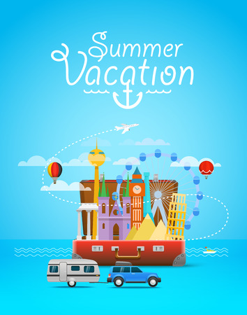 case: Summer vacation. Vacation travelling composition with the open bag