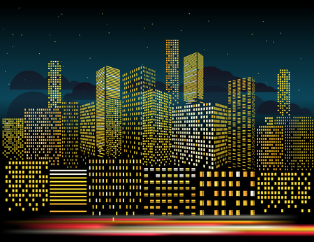 residental: Modern cityscape in the evening vector illustration. City buildings perspective