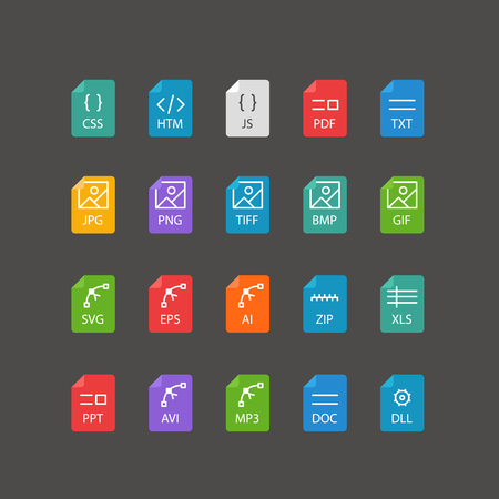 tiff: Different file types thin line color icons vector set