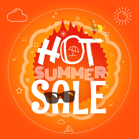 Summer sale vector illustration. Hot summer sale