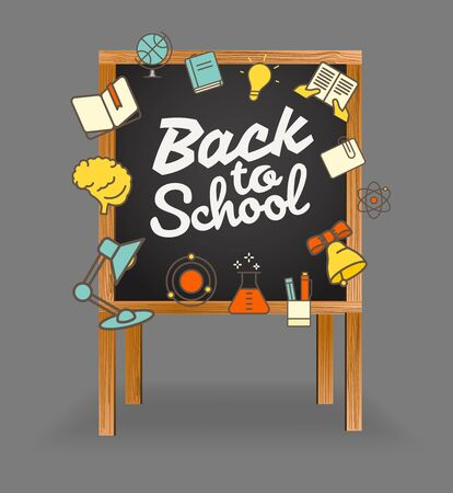 schooldesk: Back to school greeting card. Back to school calligraphic vector illustration